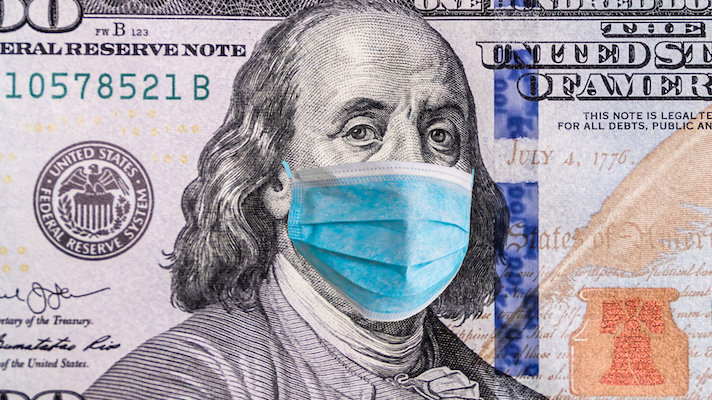 Franklin with a medical mask on a 100 dollar bill