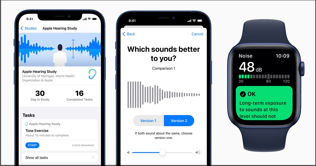 Screenshots from Apple's hearing study app