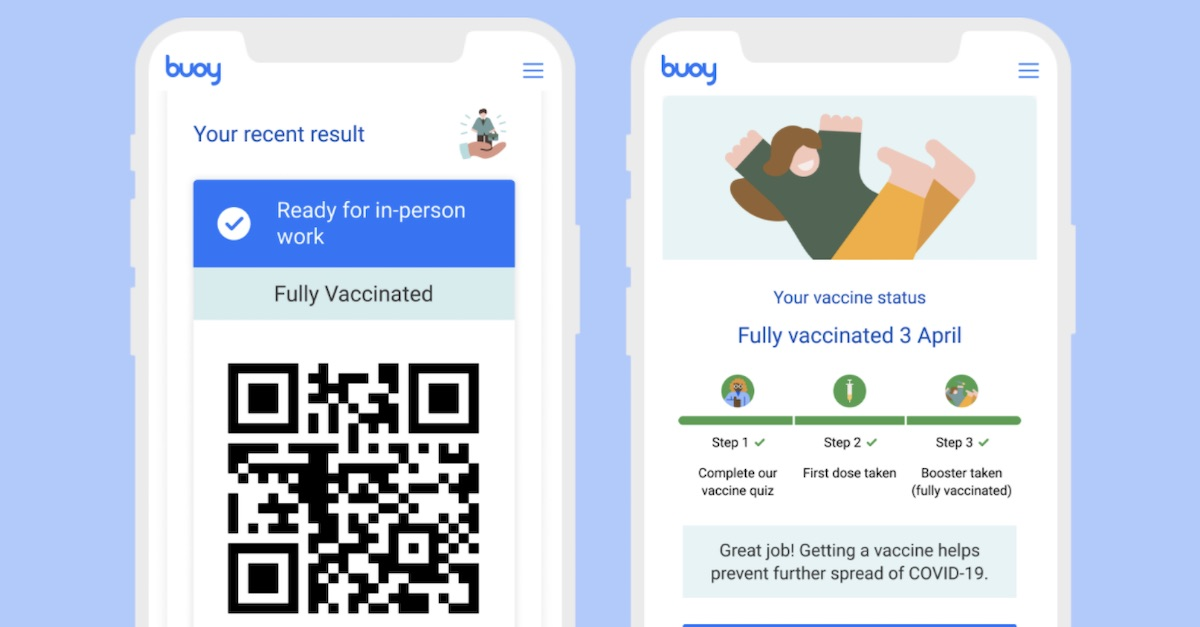 Two Buoy app smartphone example screens