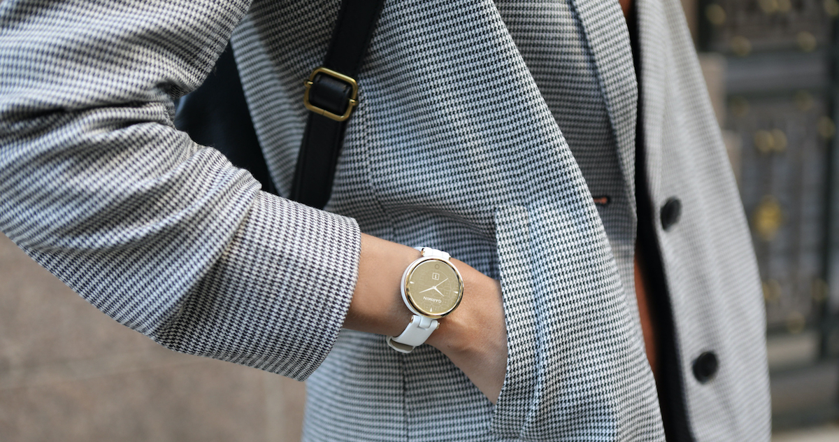 """Lily is Garmin's smallest watch yet, with a 34mm watch face and 14mm band meant to """"enhance the overall feminine aesthetic."""""""