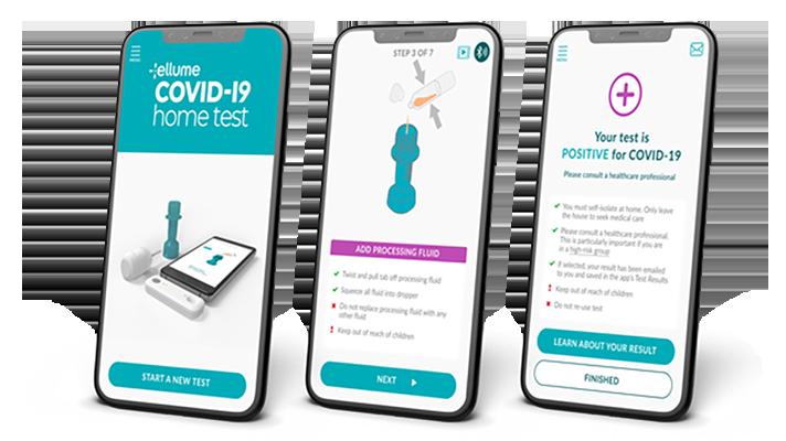 Three screens of the Ellume COVID-19 Home Test App