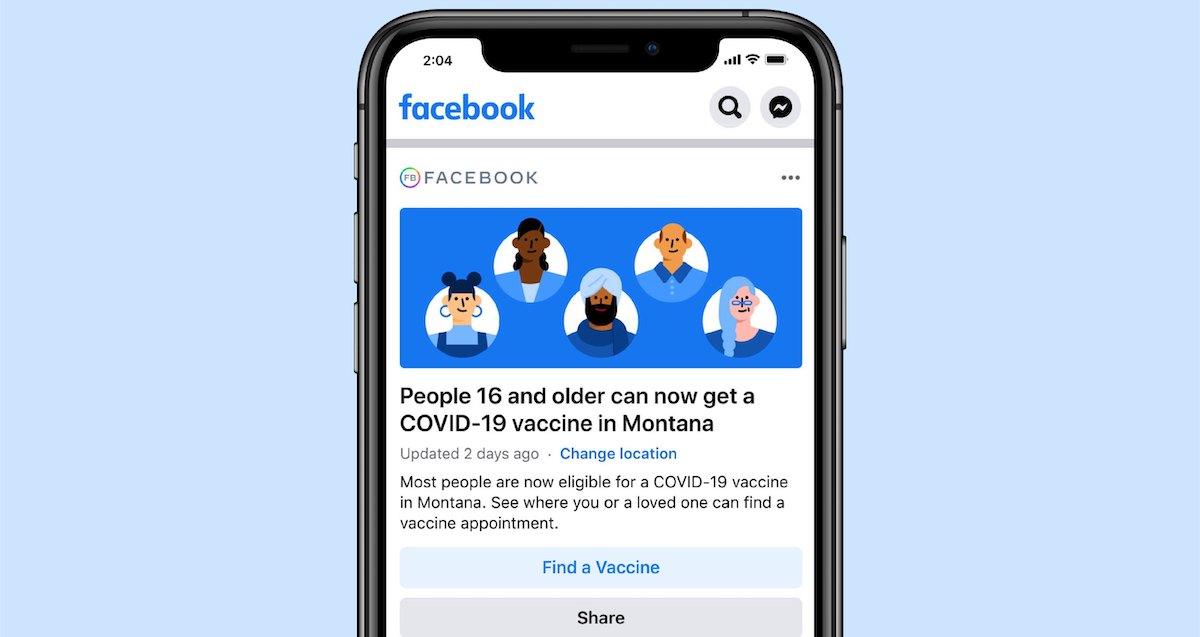 Facebook COVID page screenshot
