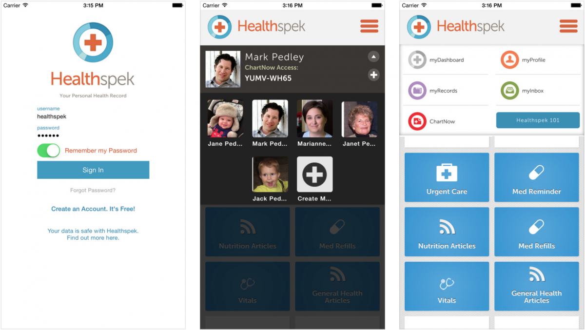 the first personal health record app on the list healthspek offers users a dashboard from which patients can add information that they find valuable