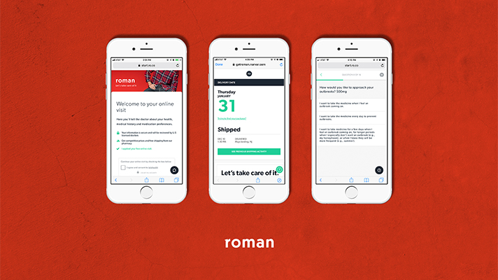 Three screens of Ro's app-based Roman offering