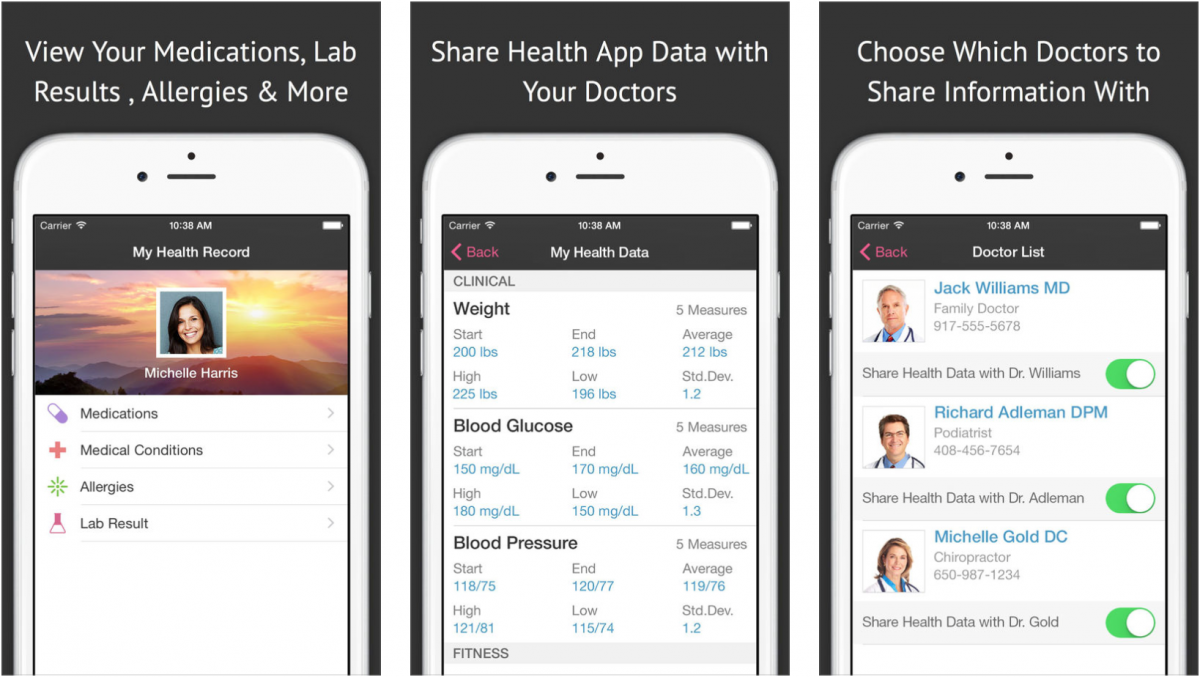 onpatient is the personal health record offered my mobile based ehr company drchrono the app allows patients to schedule appointments see their medical