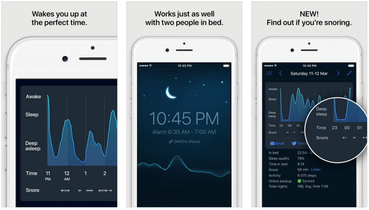 ... using the phone's microphone and accelerometer, and a smart alarm clock  that uses that data to wake users at an optimal moment in their sleep cycle.