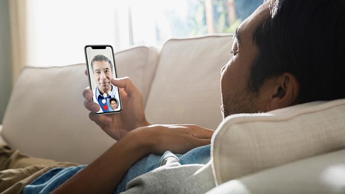 A telehealth visit via smartphone