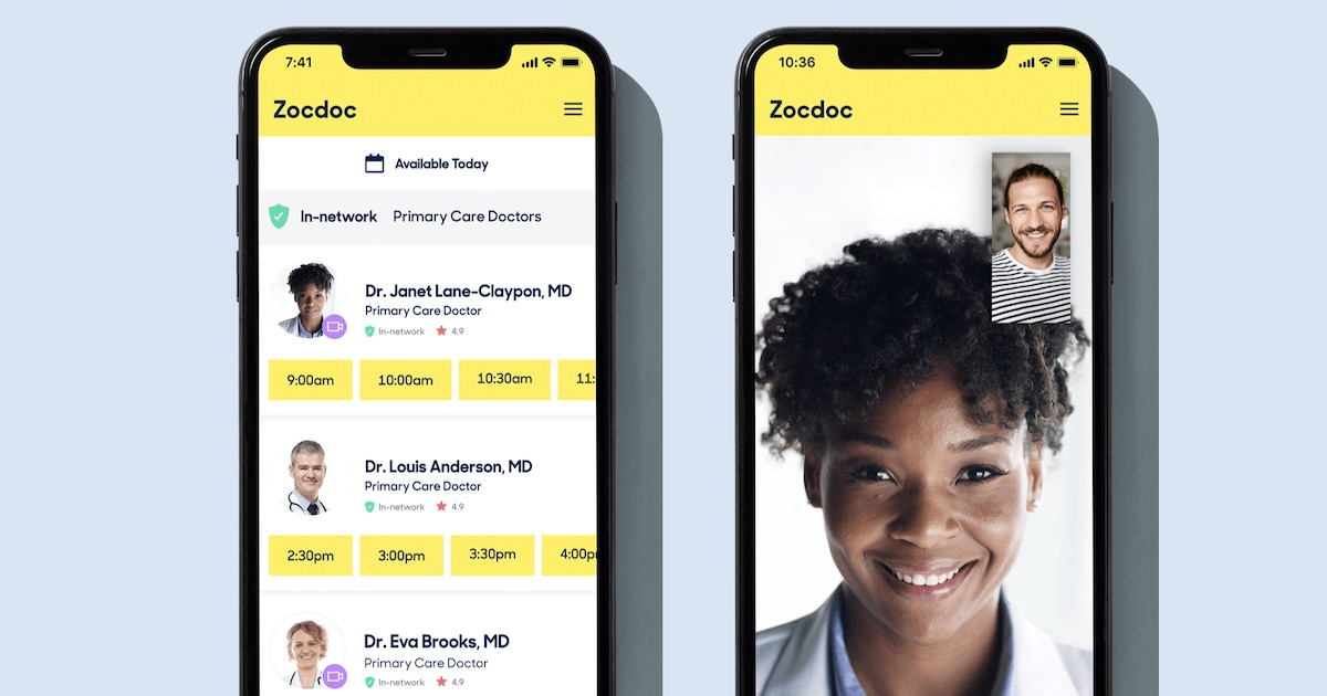 Zocdoc app examples on smartphone screens