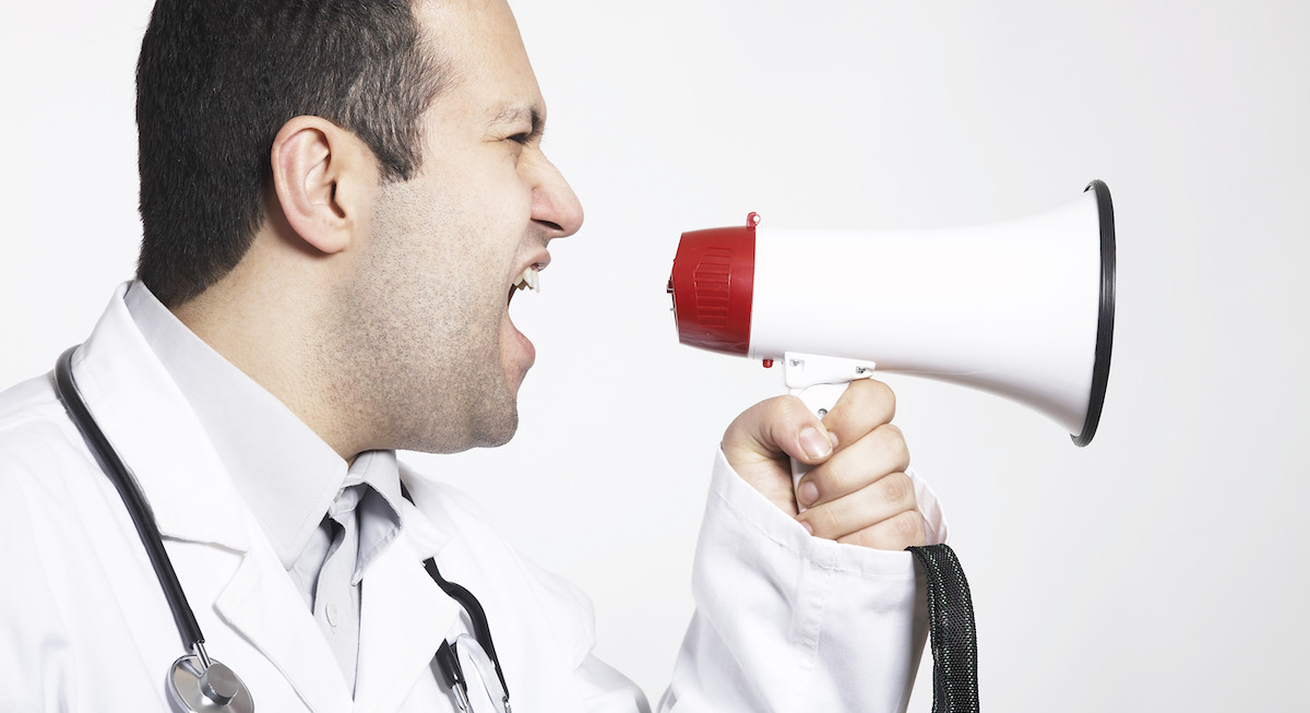 Doctor with a megaphone