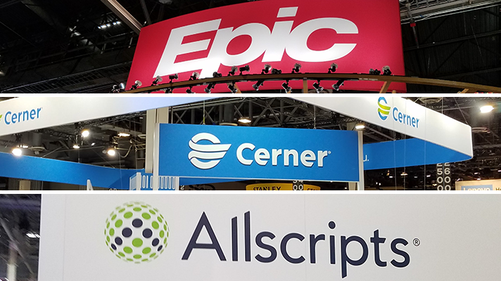 epic, cerner, allscripts signs from HIMSS18 convention booths