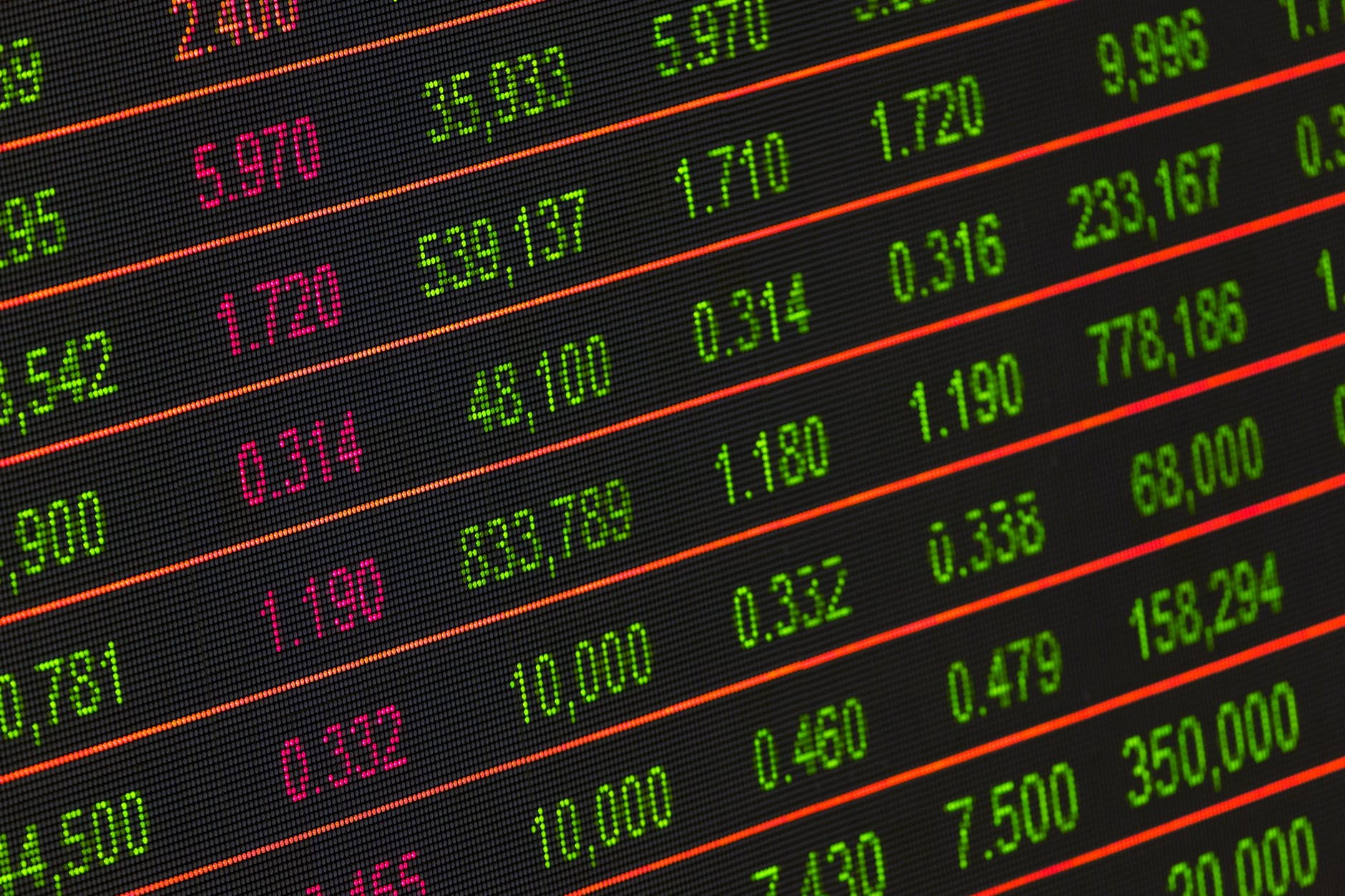 A stock exchange board.