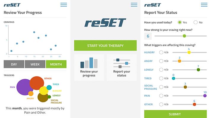 Three reSET app screen examples