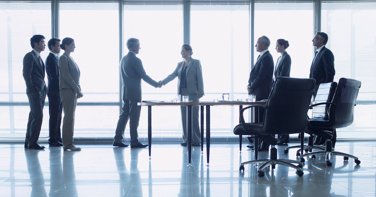 Group of business people shaking hands.