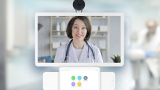 A telehealth professional on-screen