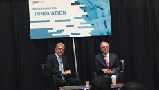 Former Apple CEO John Sculley speaks with Wainwright Fishburn, of Cooley LLP during the BIO18 event on Wednesday.