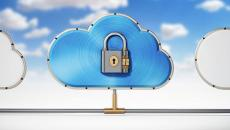 Cloud illustration with padlock.