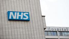 NHS hospital sign.