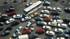 Motor vehicles stalled in a traffic jam