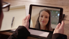 A video call through a tablet