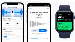 Screenshots from Apple's hearing study app