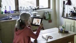 Person in a telemedicine visit at home