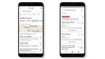 Google vaccine info examples on two phone screens