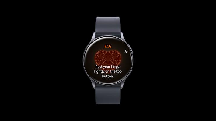 An image of the ECG feature on a Samsung Galaxy smartwatch