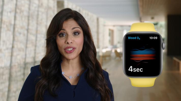 Dr. Sumbul Desai, Apple's VP of Health, presents the new Apple Watch blood oxygenation sensor at an event in September.