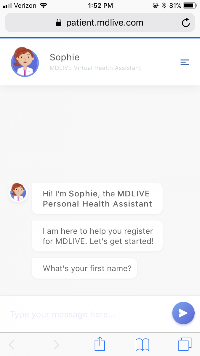 Telemedicine Company MDLive Launched Sophie, An AI Powered Chatbot, This  Week. Though The Chatbot Is Currently Usable Only For Registration, The  Company Has ...