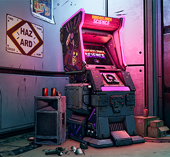 Borderlands Science is presented in-game as an arcade cabinet that players can interact with.