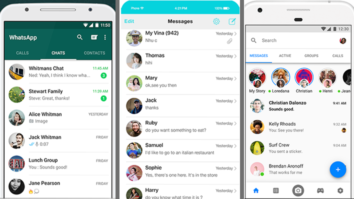 Screensnaps of Whats App, iMessage and Facebook Messenger.