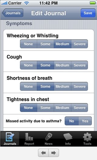 Asthma Journal iPhone app