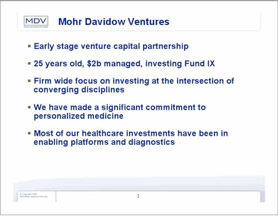 Mohr Davidow Ventures Personalized Medicine