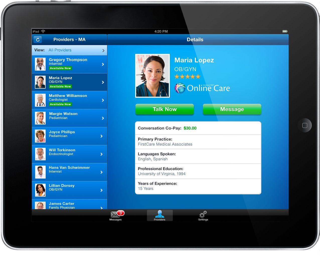 American Well Online Care Mobile App for Consumers (iPad)