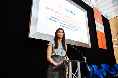 Healthbox CEO Nina Nashif speaks at the Innovation Day in London.